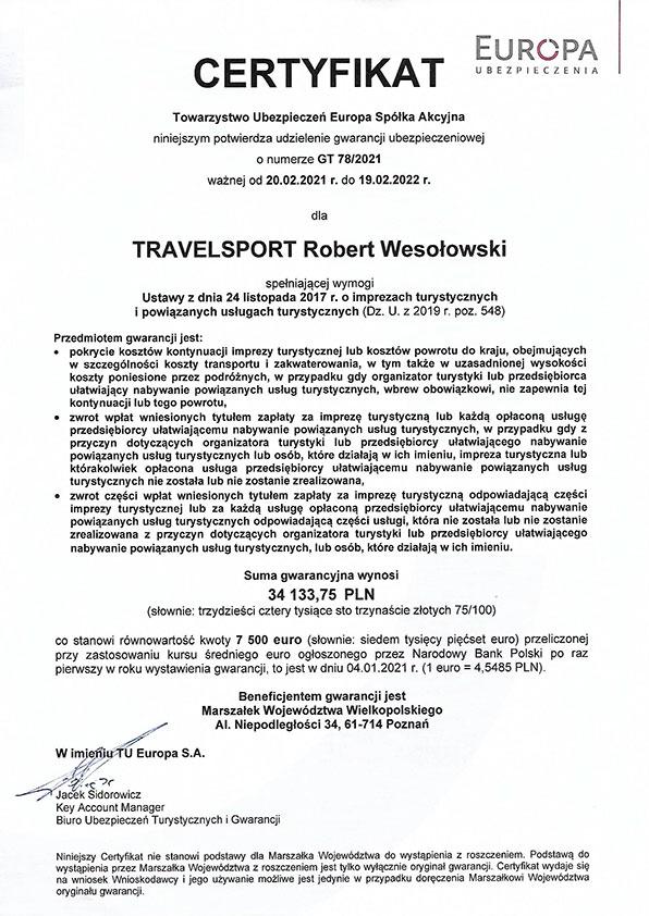 Travelsport - ubezpieczenie