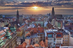 Image of Wroclaw, Poland during summer sunset.